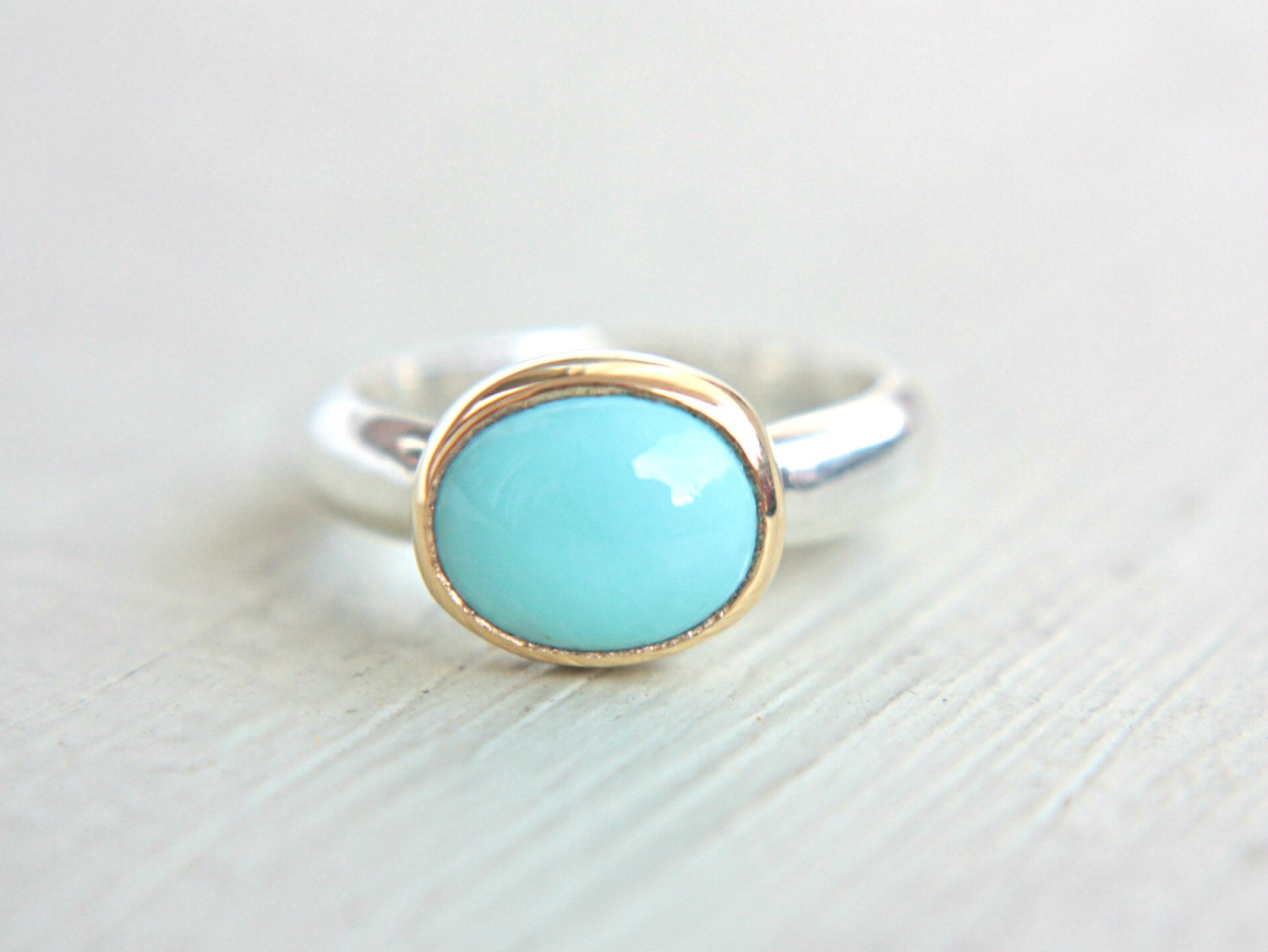 sleeping turquoise ring 14k yellow gold by manaridesign
