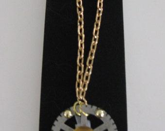 Gold Sea Glass Gear Pendant