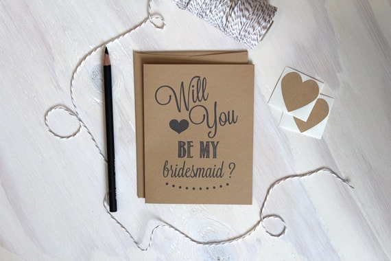 Rustic Kraft Will you be my bridesmaid? Card | Bridesmaid Card | Rustic Wedding Card | Kraft Greeting Card | Stationery | Stationary