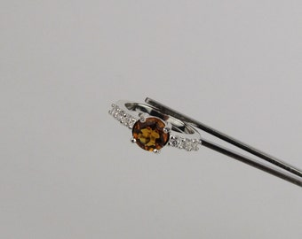 Sterling Silver Ring -Natural Madeira Citrine Ring -Statement Ring - Friendship Ring with a 7mm Natural Madeira Citrine Stone