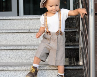 Toddler Boy Outfit Baby Newsboy Hat Shorts With Suspenders Infant Bowtie Wedding