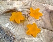 Sea Glass Beach Glass Beads - Frosted Saffron Yellow Mini Starfish Pendant beads with built in shanks underneath -   20 mm  - 2 pcs.