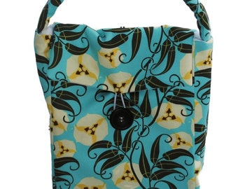 Handmade Lunch Bag Amy Butler Aqua Floral Lunch Tote Lunch Pouch