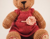 Knit Bear Toy - Hand Knit Pink Chocolate Brown Bear Stuffed Animal with Embroidered Fabric Patch Paws and Flower Dress