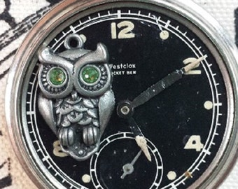 Steampunk Vintage Pocket Watch and Owl Necklace