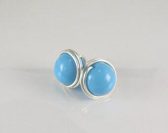 Wire Wrapped Stud Earrings, Light Blue Stud Earrings, Sterling Silver Stud Earrings, Gold Filled Stud Earrings, Post Earrings, Gift under 25