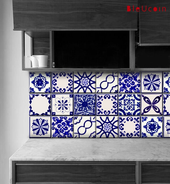 Tile wall stair decal classic mexican talavera style for Kitchen cabinets lowes with removable floor tile stickers