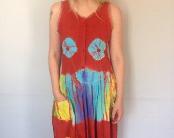 Tie-Dyed Dress in Deep Terracotta