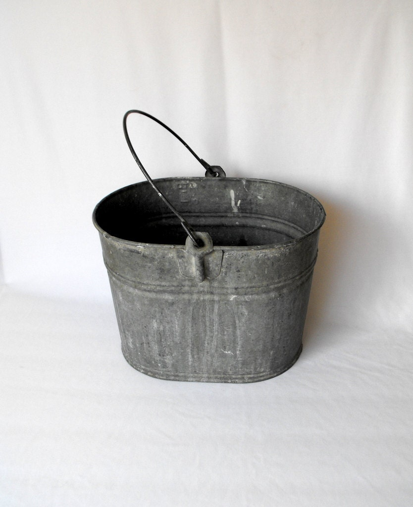 vintage pail oval galvanized basin with metal handle bucket