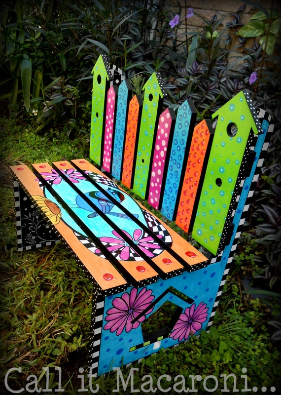 Whimsical Bird House Bench Whimsy Childrens