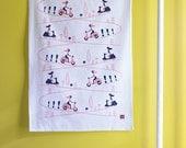 Vespa Scooter Tea Towel - 20 x 28 - dish towel, hostess gift, motor bike, kitchen, linen, flour sack towel, retro, girl, pink, blue