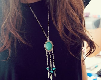 Boho Necklace Turquoise and Silver, Bohemian Pendant