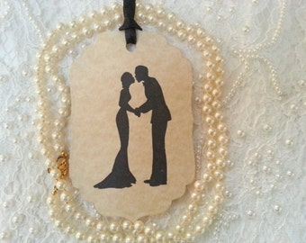 100 WISH TREE TAGS Bride and Groom Adorned With A Black Satin Ribbon