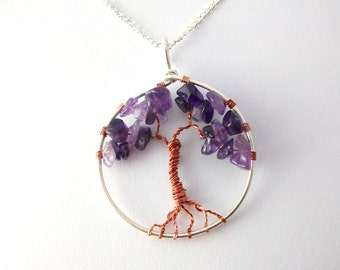 Sterling Silver and Amethyst tree of life necklace, nature inspired jewellery, healing crystals