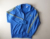 70s Adidas Firebird Jacket- OG Blue Nylon Track Jacket - Original 70s Adidas Warm Up Tracksuit Jacket