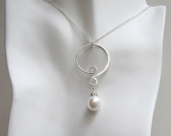 Pearl and Crystal Necklace Swarovski Pearl Necklace Sterling Silver Pearl Necklace Hammered Sterling Silver Necklace Large Pearl Necklace