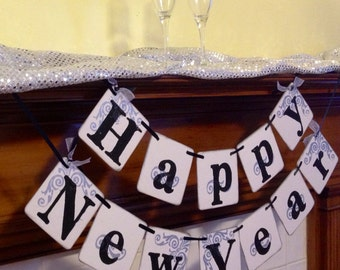 Happy New Year banner New Years Eve party decoration sign garland 2015 Happy New Year Garland