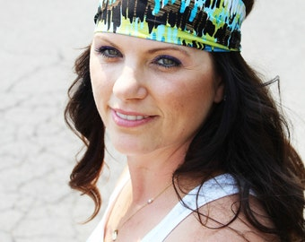 4' wide running /work out /yoga / lifting headband      Multi colored brown ,Blue & yellow