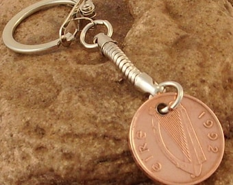 1992 1p One Pence Penny Irish Coin Keyring Key Chain Fob 23rd Birthday