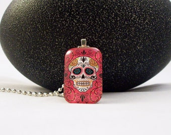 Pink Day of the Dead Skull Glass Pendant Necklace