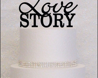 Love Story Monogram Wedding Cake Topper in Black, Gold, or Silver