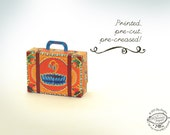 Printed Papercraft DIY Paper Toy / Gift Box / Favor Box   Colorful Mini Suitcase- Orange Lotus Design   Pre-cut, Pre-creased Children Gift