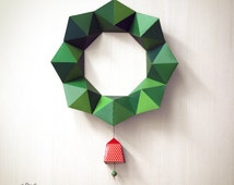 DIY Paper Christmas Wreath / Decor | Geometric Design: 2 sizes with Bells | Printable A4 size templates | Instant digital download