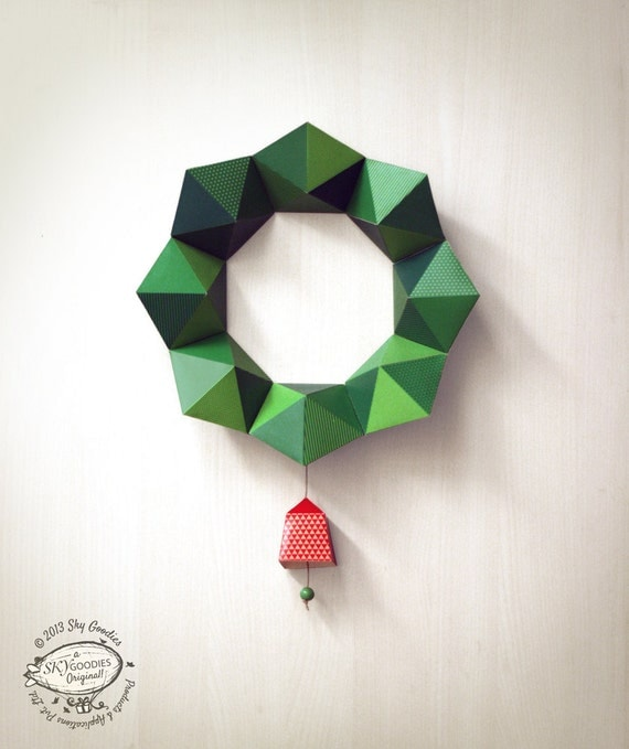 DIY Paper Christmas Wreath / Decor | Geometric Design: 2 sizes with ...