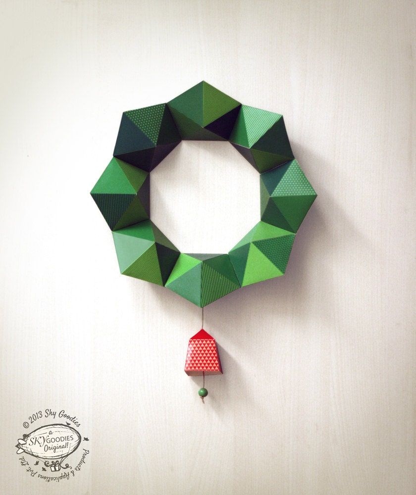 Paper Decorations Christmas Diy Paper Christmas Wreath Papercraft Decor Geometric