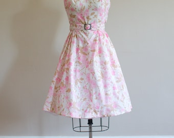 1950's Cherry Blossom Dress/ Size S/M