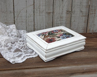 Shabby Chic Jewelry Box, White, Distressed, Tapestry, Flowered, Hand Painted