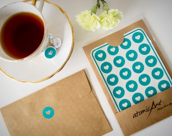 24 Heart Stickers in Teal Turquoise - Handmade Envelope Seals - Wedding invitations & favours - Hershey Kiss - Gift Bag Sticker