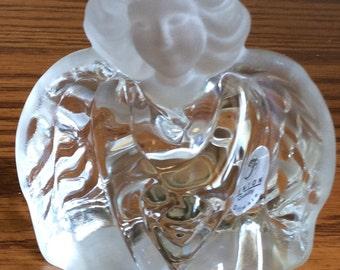 Vintage Fenton Guardian Angel Figurine Crystal Clear Glass With Satin Head