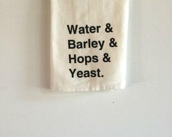 Beer Tea Towel, Beer Gift, Screen Printed Flour Sack Towel