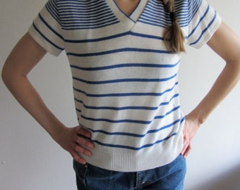 vintage blue and white stripe sweater