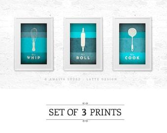 Turquoise Kitchen Print Teal Art Decor Poster