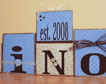 Personalized Family Name Blocks- Family Letter Blocks- Last Name Letter Blocks- Established Family Sign- Family Name Wood Sign- Family Block