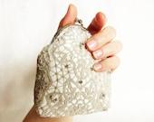 High fashion Coin purse in silver lace and ivory silk, Swarovski rhinestones, OOAK