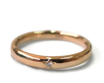 Diamond Band, Engagement Ring, 18K Rose Gold and Diamond engagement, engagement ring, wedding band, Star band. Star ring