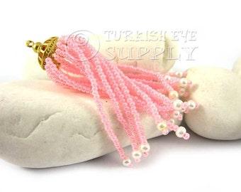 1 pc Pink Beaded Tassel with 22k Matte Gold Plated Brass Cap, Turkish Jewelry, Tassel Pendant, Bohemian Jewelry