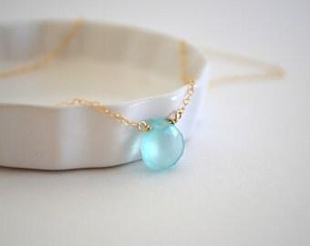 Aqua Chalcedony Gemstone Necklace, Gold Filled