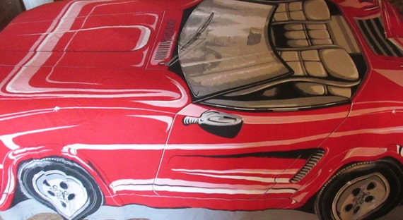Red Sports Car Bedspread Blanket Vintage Late 70 39 S