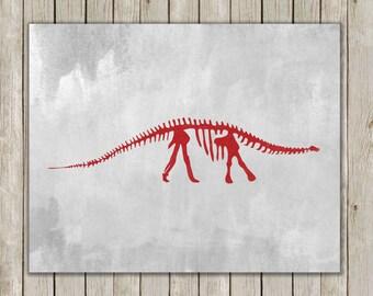 8x10 Dinosaur Wall Printable, Brontosaurus Art, Fossil Wall Art, Red and Gray Nursery Decor, Nursery Art, Poster, Instant Digital Download
