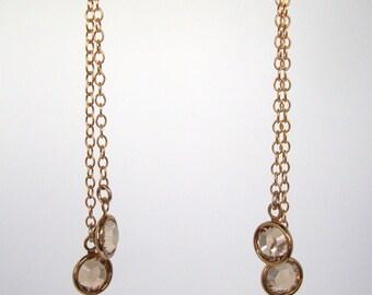 Golden Shadow Swarovski Crystal Gold-Filled Earrings - Handmade Jewelry - Bridesmaid / Bridal Earrings - Minimalist Jewelry - Gold Earrings