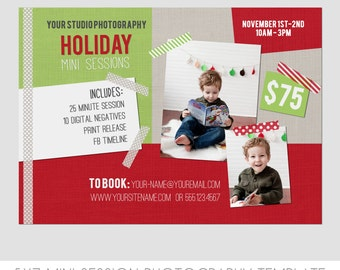 Mini Photography Sessions Template  - Modern -  Christmas - Children - Holiday - Portraits - 5x7 - Flyer - Digital - Photo Mask