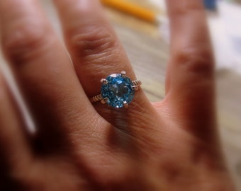 Blue Topaz Sterling Silver Gemstone Ring, Rope Band, Prong, Bella, Made to Order