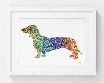 Geometric Art Dachshund Watercolor Painting - 5x7 Archival Dog Art Dachshund Prints- Home Living Decor Housewares Wall Decor Art