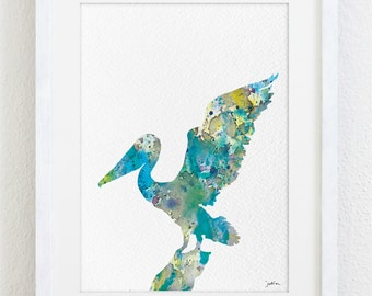 Blue Pelican Watercolor Print - 5x7 Archival Print - Painting, Pelican Art Print - Watercolor Art, Wall Decor Art Home Decor Housewares
