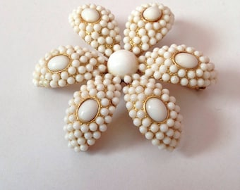 Gold floral white beaded brooch