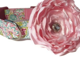 Floral Pink Dog Collar and Flower Set, Pink, Adjustable Sizes for small, medium, large and Extra Large dogs